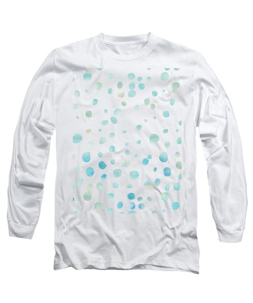 Mint Blue Watercolor Confetti Dots Long Sleeve T-Shirt by P S