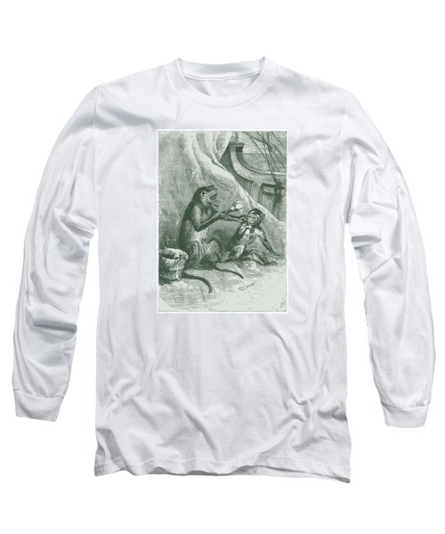 Long Sleeve T-Shirt featuring the drawing Mischievous Monkey by David Davies