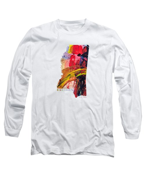 Mississippi Map Art - Painted Map Of Mississippi Long Sleeve T-Shirt