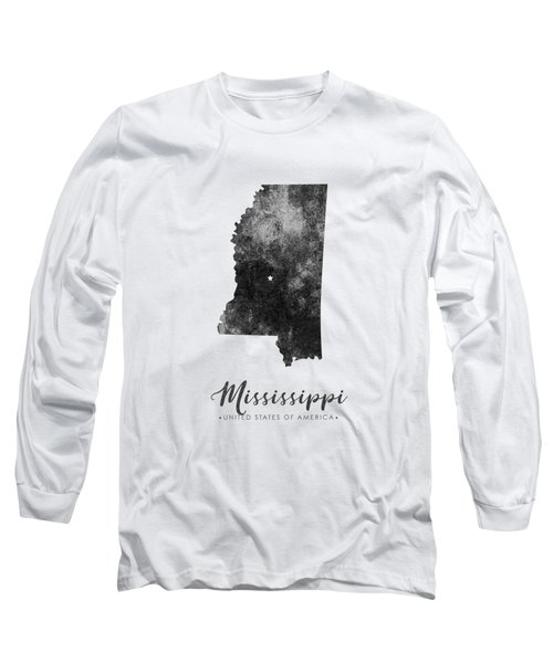 Mississippi State Map Art - Grunge Silhouette Long Sleeve T-Shirt