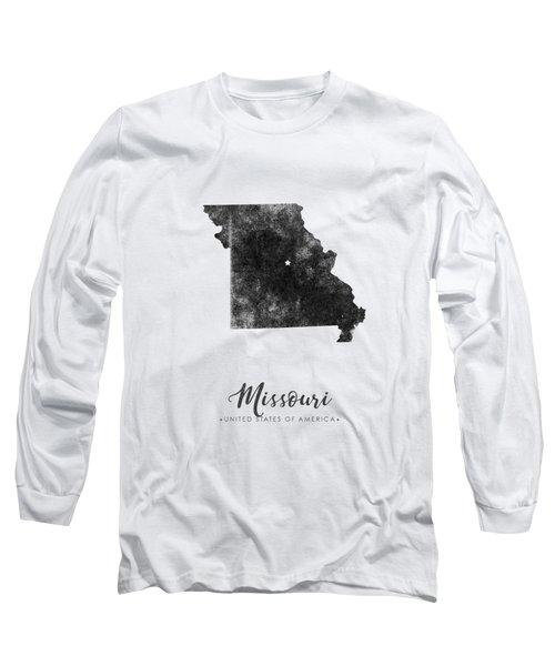 Missouri State Map Art - Grunge Silhouette Long Sleeve T-Shirt