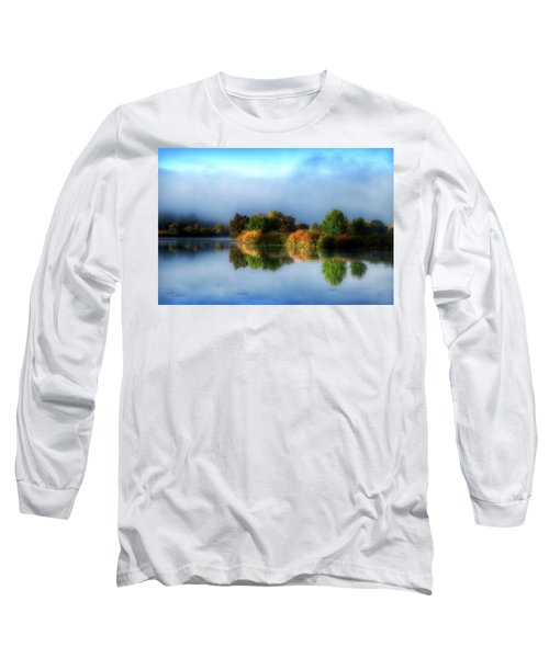 Misty Fall Colors On The River Long Sleeve T-Shirt by Lynn Hopwood