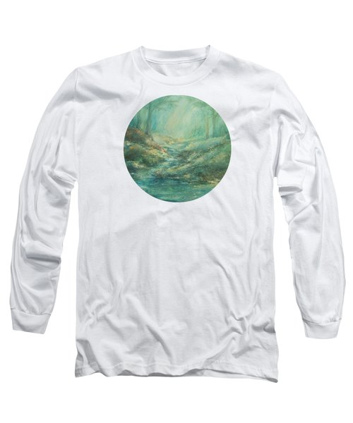 The Misty Forest Stream Long Sleeve T-Shirt by Mary Wolf