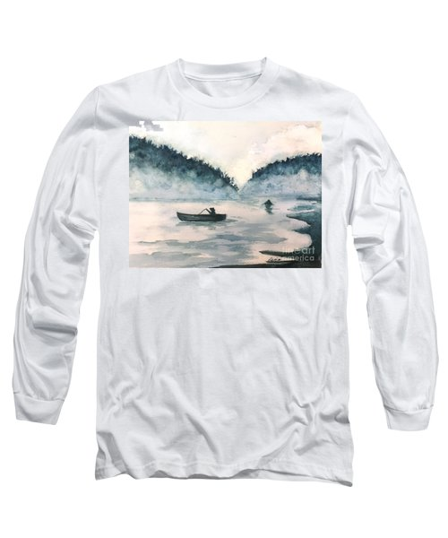 Long Sleeve T-Shirt featuring the painting Misty Lake by Lucia Grilletto