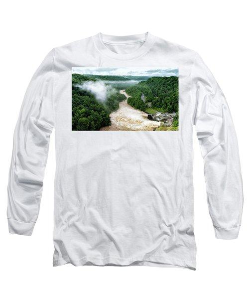Misty Morning At Summersville Lake Dam Long Sleeve T-Shirt by Mark Allen
