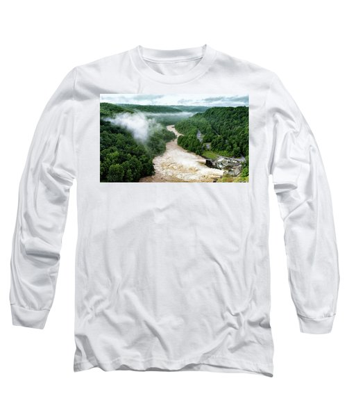 Misty Morning At Summersville Lake Dam Long Sleeve T-Shirt