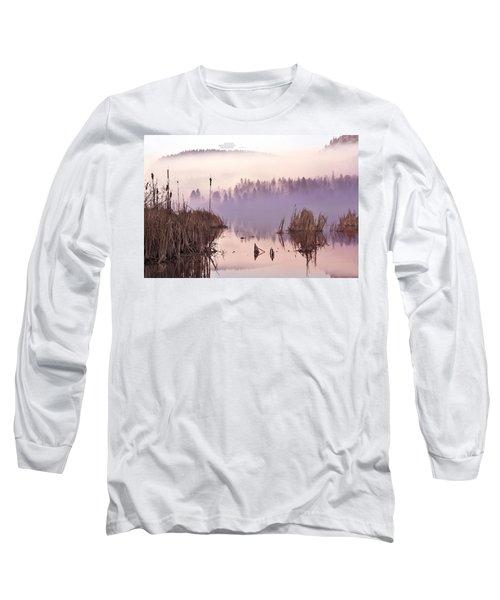 Misty Morning At Vaseux Lake Long Sleeve T-Shirt by John Poon