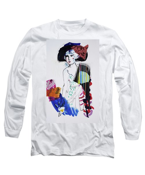 Model With Fashion Hat And Chawl Long Sleeve T-Shirt by Amara Dacer