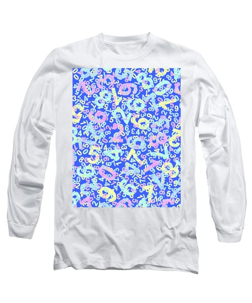 Modern Design With Random Colorful Numbers With Shadow Edges On A Blue Background  Long Sleeve T-Shirt