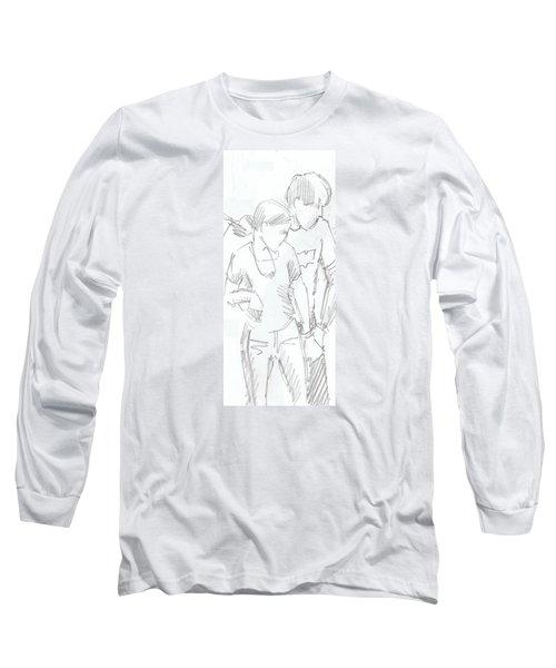 Modern Jive Ceroc Dancing Couple Pencil Drawing Long Sleeve T-Shirt