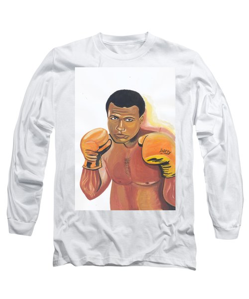 Long Sleeve T-Shirt featuring the painting Mohammed Ali by Emmanuel Baliyanga