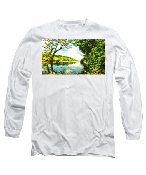 Long Sleeve T-Shirt featuring the photograph Mohegan Lake By The Bridge by Derek Gedney