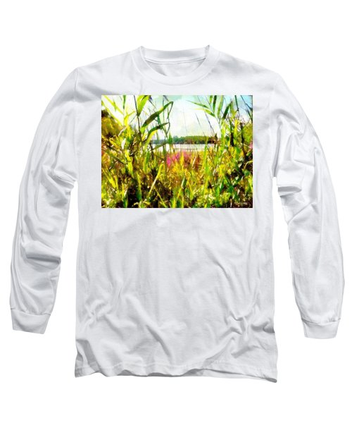 Long Sleeve T-Shirt featuring the painting Mohegan Lake In The Brush by Derek Gedney