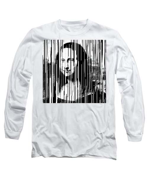 Mona Lisa Barcode Pop Art By Robert R  Long Sleeve T-Shirt