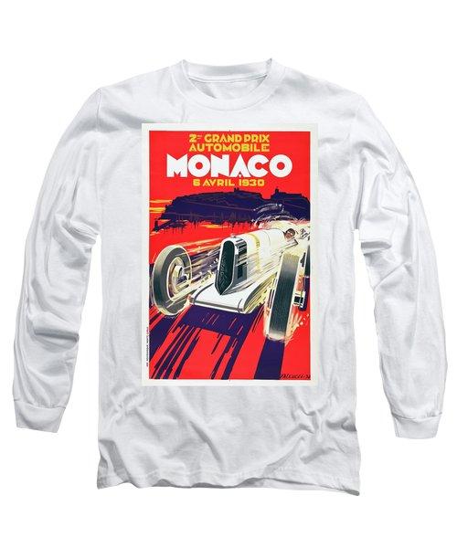 Long Sleeve T-Shirt featuring the digital art Monaco Grand Prix 1930 by Taylan Apukovska