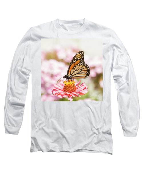 Monarch Butterfly On Pink Long Sleeve T-Shirt