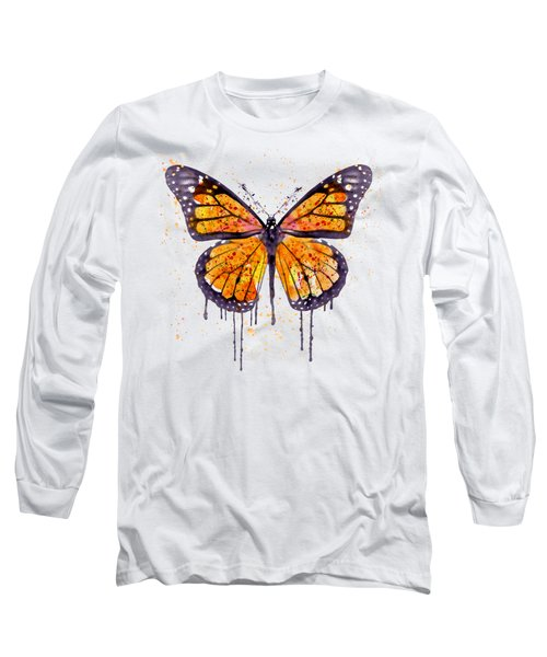 Monarch Butterfly Watercolor Long Sleeve T-Shirt by Marian Voicu