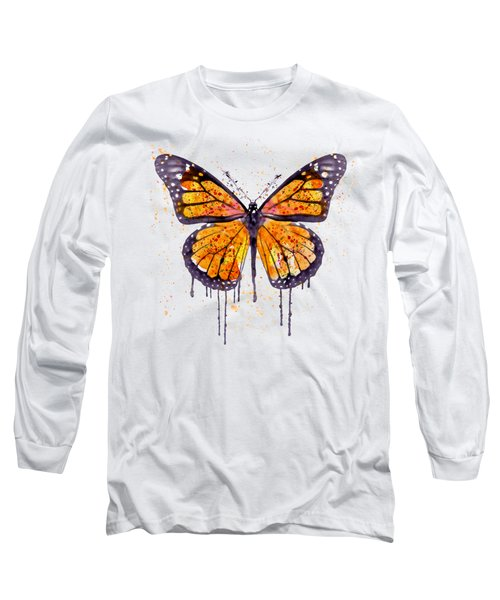 Monarch Butterfly Watercolor Long Sleeve T-Shirt