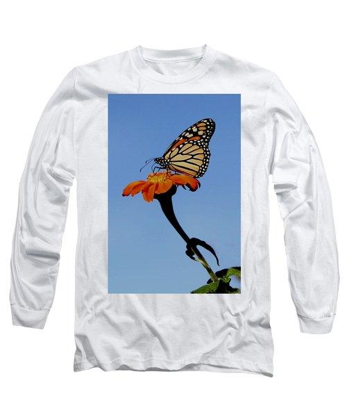 Monarch On Zinnia  Long Sleeve T-Shirt