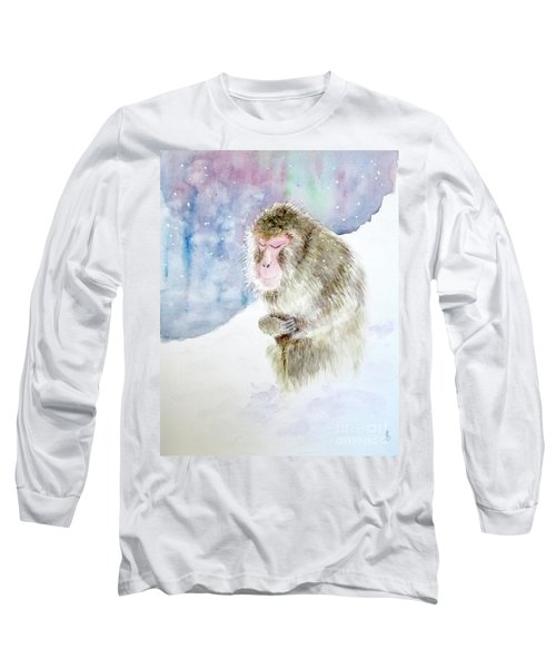 Monkey In Meditation Long Sleeve T-Shirt by Yoshiko Mishina
