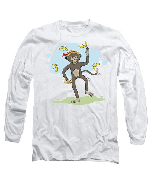 Monkey Juggling Bananas Long Sleeve T-Shirt by Elena Chepel