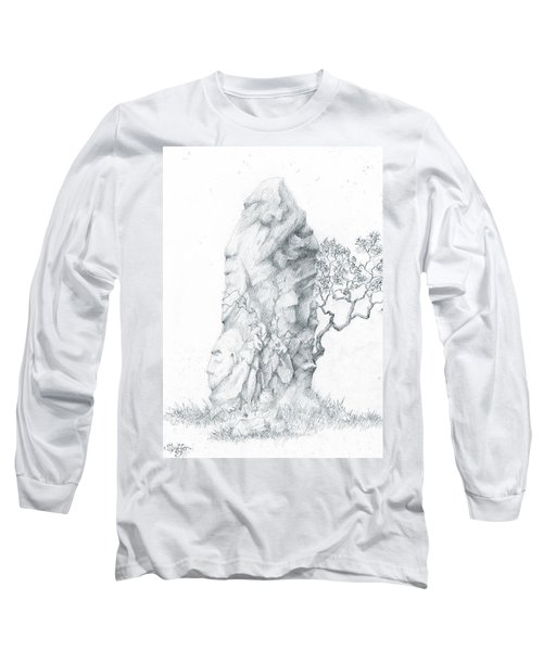 Long Sleeve T-Shirt featuring the drawing Monolith 2 by Curtiss Shaffer