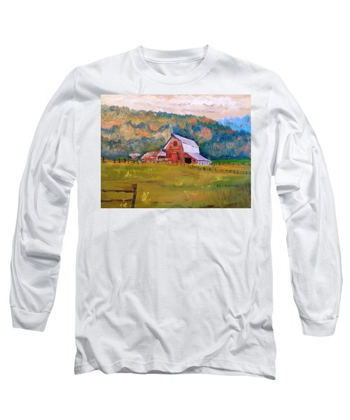 Montana Barn Long Sleeve T-Shirt by Larry Hamilton