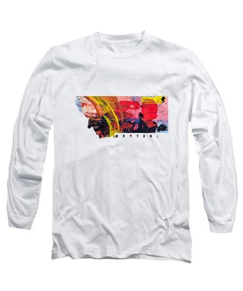 Montana Map Art - Painted Map Of Montana Long Sleeve T-Shirt
