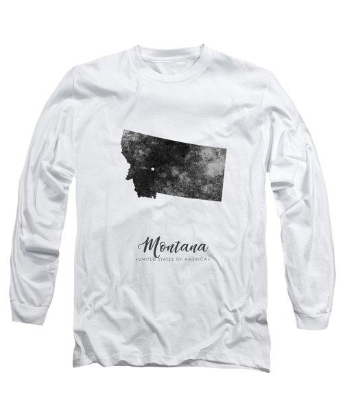 Montana State Map Art - Grunge Silhouette Long Sleeve T-Shirt