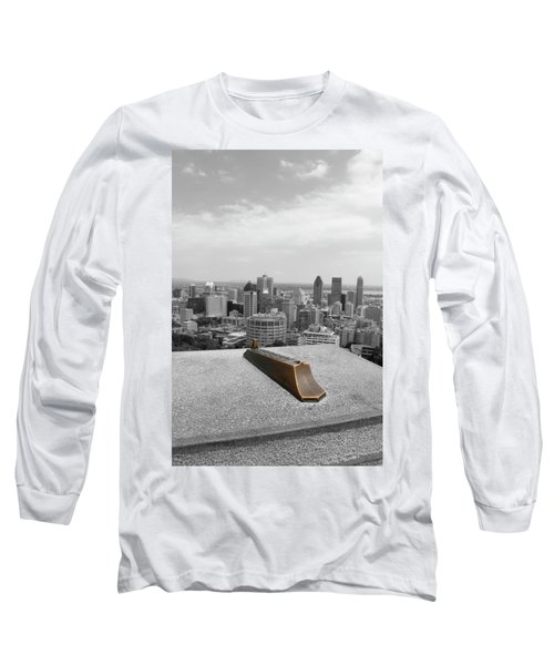 Montreal Cityscape Bw With Color Long Sleeve T-Shirt