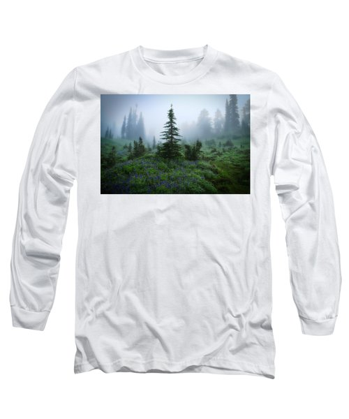 Moody Myrtle Falls Trail At Mount Rainier Long Sleeve T-Shirt