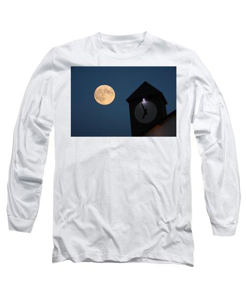 Moon And Clock Tower Long Sleeve T-Shirt