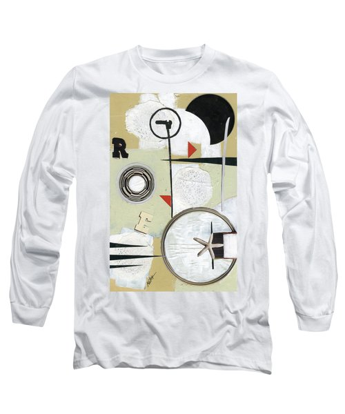 Long Sleeve T-Shirt featuring the painting Moon And Stars In Space by Michal Mitak Mahgerefteh