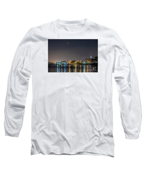 Long Sleeve T-Shirt featuring the photograph Moon Over Aquatic Park by Kate Brown