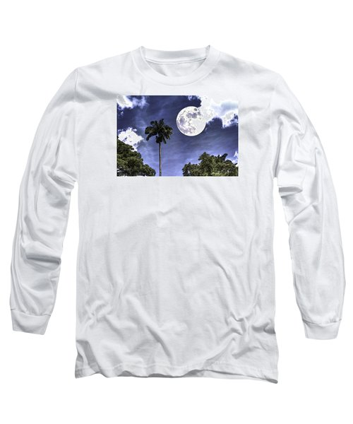Moon Over Belize Two Long Sleeve T-Shirt by Ken Frischkorn