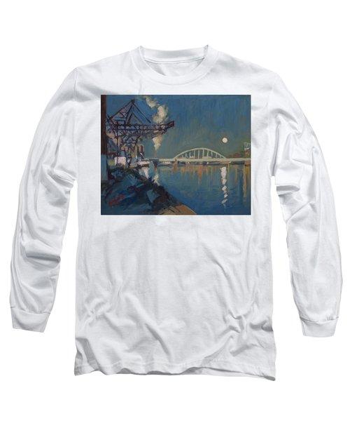 Moon Over The Railway Bridge Maastricht Long Sleeve T-Shirt