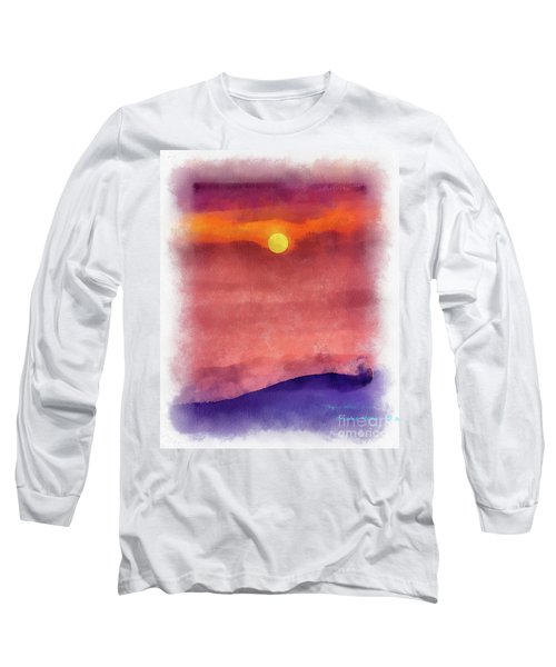 Moon Rise In Aquarelle Long Sleeve T-Shirt