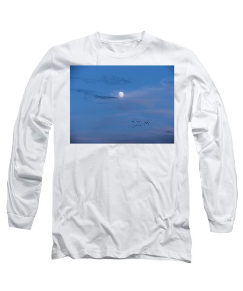 Moon Rises Geese Fly Long Sleeve T-Shirt