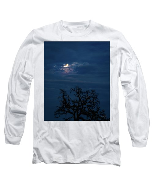Moonlight Through A Blue Evening Sky Long Sleeve T-Shirt