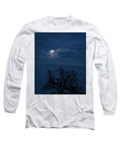 Moonlight Through A Blue Evening Sky Long Sleeve T-Shirt