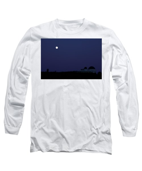 Moonrise At Blue Hour Over Griffith Observatory In Los Angeles Long Sleeve T-Shirt