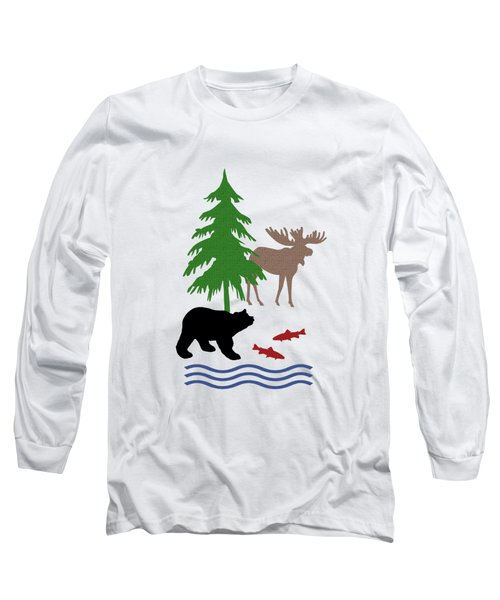 Moose And Bear Pattern Art Long Sleeve T-Shirt