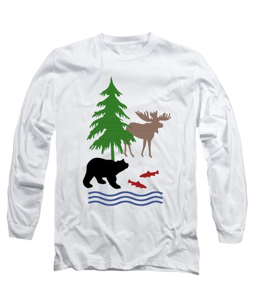 Moose And Bear Pattern Art Long Sleeve T-Shirt