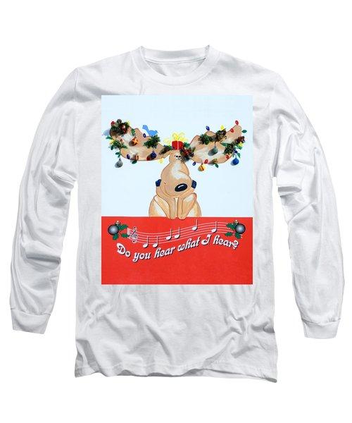Moose Christmas Greeting Long Sleeve T-Shirt