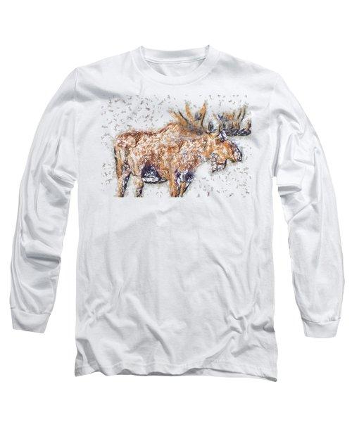Moose-sticks Long Sleeve T-Shirt by Elaine Ossipov