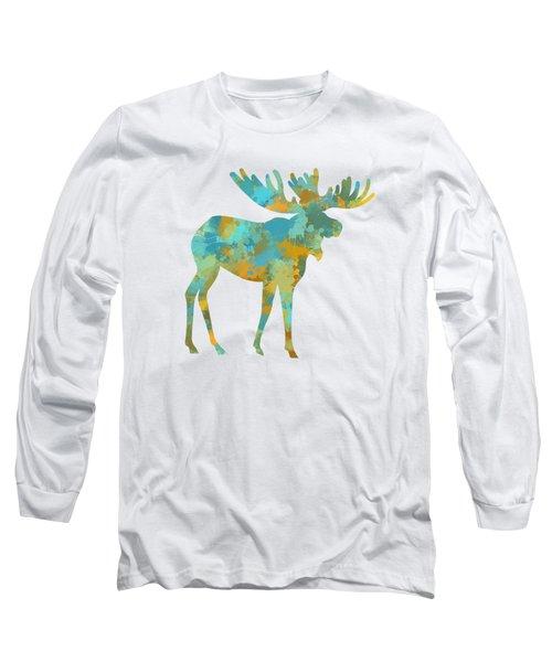 Moose Watercolor Art Long Sleeve T-Shirt by Christina Rollo