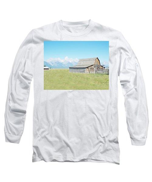 Long Sleeve T-Shirt featuring the photograph Mormon Row Barn - Grand Tetons by Joseph Hendrix