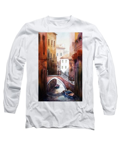 Long Sleeve T-Shirt featuring the painting Morning Canals by Samiran Sarkar