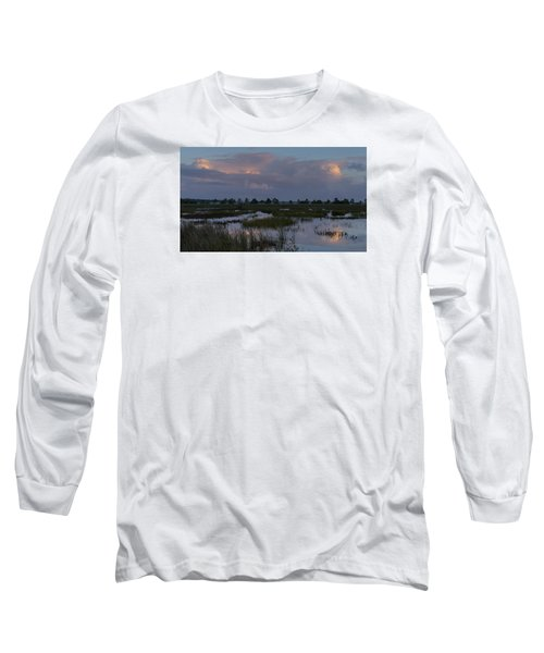 Morning Reflections Over The Wetlands Long Sleeve T-Shirt