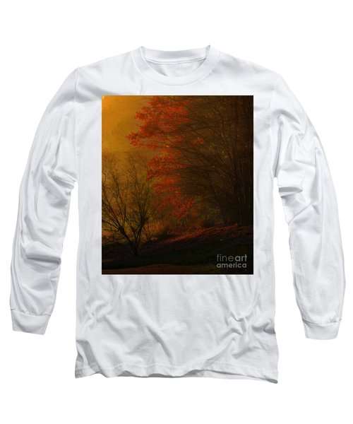 Morning Sunrise With Fog Touching The Tree Tops In Georgia. Long Sleeve T-Shirt
